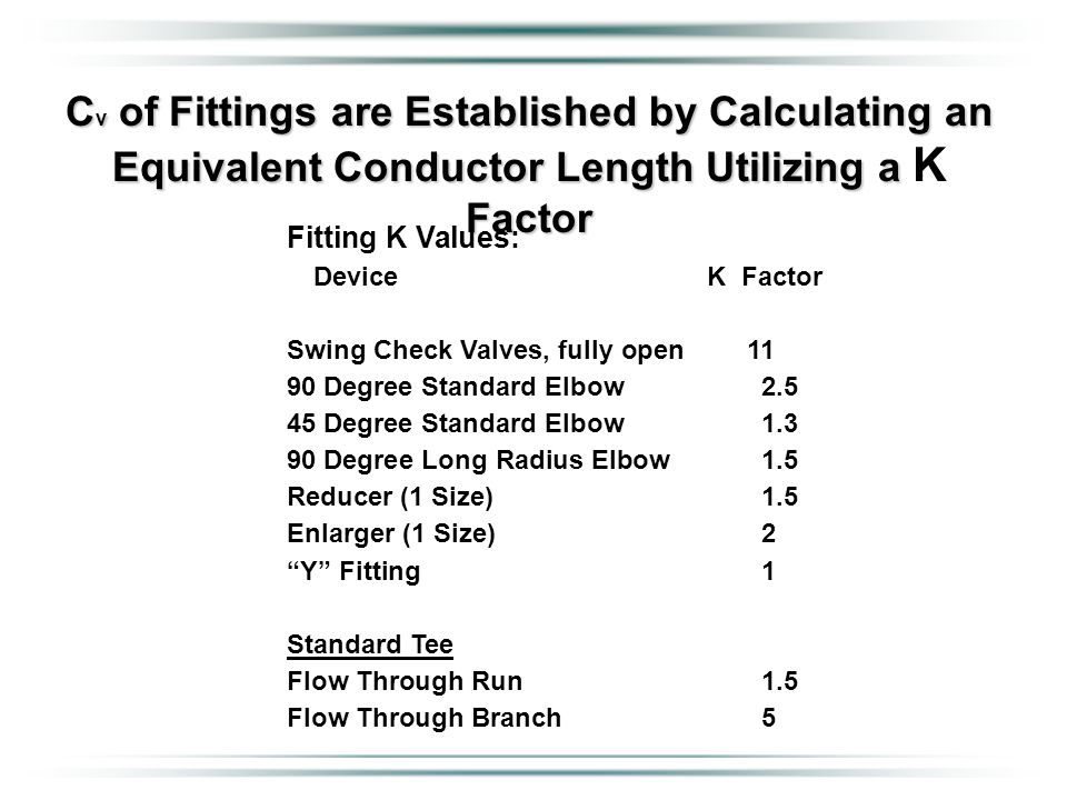 C v of Fittings are Established by Calculating an Equivalent Conductor Length Utilizing a Factor C v of Fittings are Established by Calculating an Equ