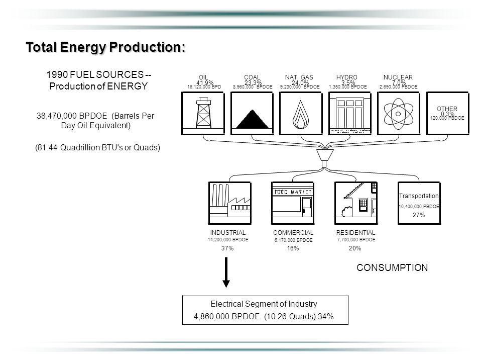 Total Energy Production: 1990 FUEL SOURCES -- Production of ENERGY 38,470,000 BPDOE (Barrels Per Day Oil Equivalent) (81.44 Quadrillion BTU s or Quads) Electrical Segment of Industry 4,860,000 BPDOE (10.26 Quads) 34% 37%20%16% CONSUMPTION