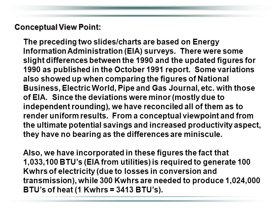 Conceptual View Point: The preceding two slides/charts are based on Energy Information Administration (EIA) surveys. There were some slight difference