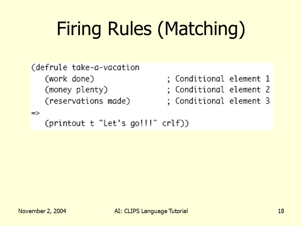 November 2, 2004AI: CLIPS Language Tutorial18 Firing Rules (Matching)
