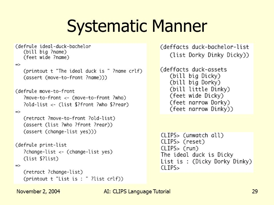 November 2, 2004AI: CLIPS Language Tutorial29 Systematic Manner
