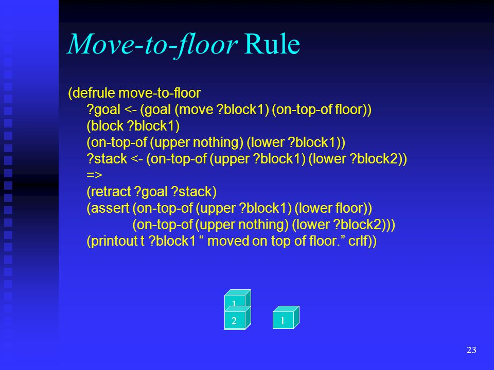 22 Move-directly Rule (defrule move-directly ?goal (retract ?goal ?stack-1 ?stack-2) (assert (on-top-of (upper ?block1) (lower ?block2)) (on-top-of (u