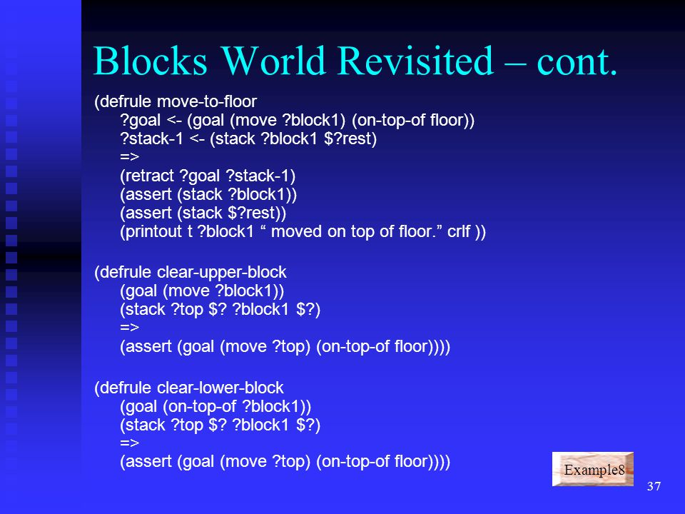 36 Blocks World Revisited (deffacts initial-state (stack A B C) (stack D E F) (goal (move C) (on-top-of E) (stack)) (defrule move-directly ?goal (retract ?goal ?stack-1 ?stack-2) (assert (stack $?rest1)) (assert (stack ?block1 ?block2 $?rest2)) (printout t ?block1 moved on top of ?block2 . crlf))