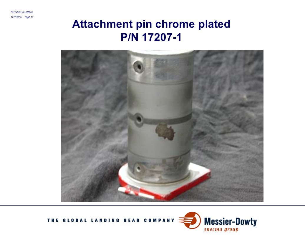 File Name & Location 12/05/2015, Page 17 Attachment pin chrome plated P/N 17207-1