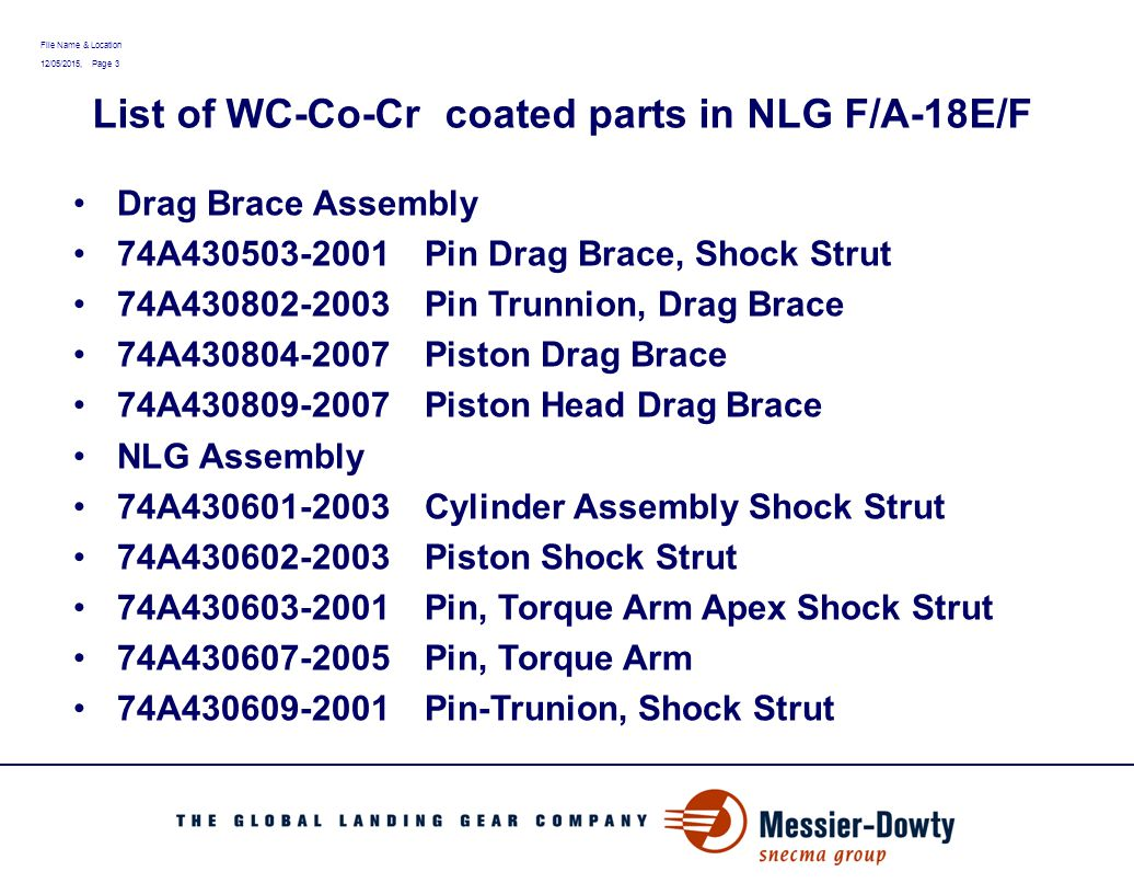 File Name & Location 12/05/2015, Page 3 List of WC-Co-Cr coated parts in NLG F/A-18E/F Drag Brace Assembly 74A430503-2001Pin Drag Brace, Shock Strut 74A430802-2003Pin Trunnion, Drag Brace 74A430804-2007Piston Drag Brace 74A430809-2007Piston Head Drag Brace NLG Assembly 74A430601-2003Cylinder Assembly Shock Strut 74A430602-2003Piston Shock Strut 74A430603-2001Pin, Torque Arm Apex Shock Strut 74A430607-2005Pin, Torque Arm 74A430609-2001Pin-Trunion, Shock Strut