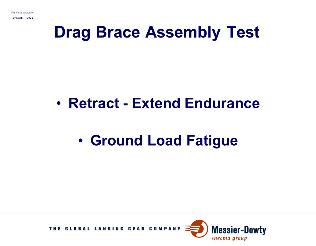 File Name & Location 12/05/2015, Page 9 Drag Brace Assembly Test Retract - Extend Endurance