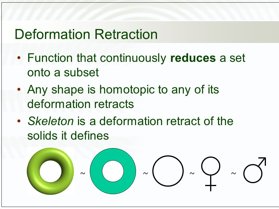 Deformation Retraction Function that continuously reduces a set onto a subset Any shape is homotopic to any of its deformation retracts Skeleton is a