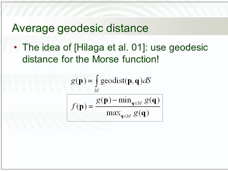 Average geodesic distance The idea of [Hilaga et al.