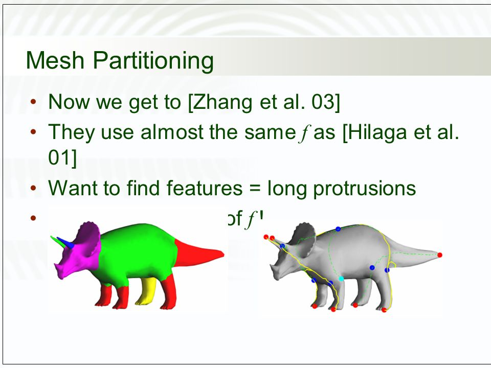 Mesh Partitioning Now we get to [Zhang et al. 03] They use almost the same f as [Hilaga et al.