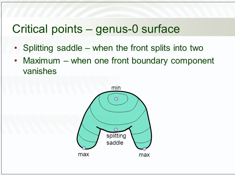 Critical points – genus-0 surface Splitting saddle – when the front splits into two Maximum – when one front boundary component vanishes max splitting saddle min