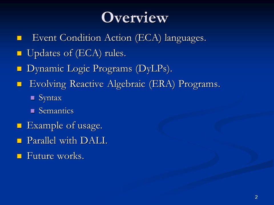 2 Overview Event Condition Action (ECA) languages. Event Condition Action (ECA) languages. Updates of (ECA) rules. Updates of (ECA) rules. Dynamic Log