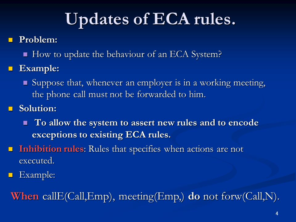 4 Updates of ECA rules. Updates of ECA rules. Problem: Problem: How to update the behaviour of an ECA System? How to update the behaviour of an ECA Sy