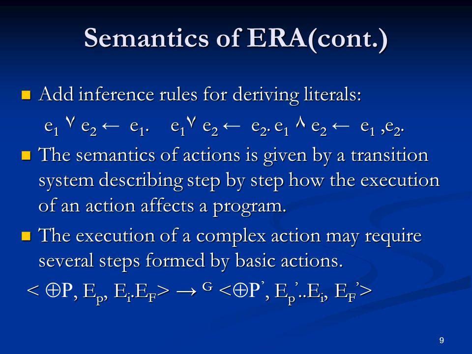 9 Semantics of ERA(cont.) Add inference rules for deriving literals: Add inference rules for deriving literals: e 1 ٧ e 2 e 1.