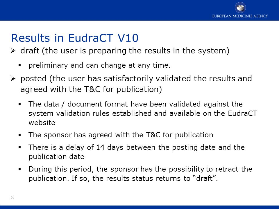 Results in EudraCT V10 6