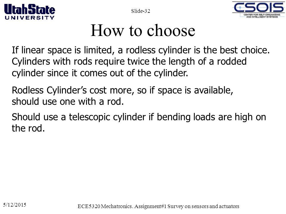 How to choose 5/12/2015 ECE5320 Mechatronics.