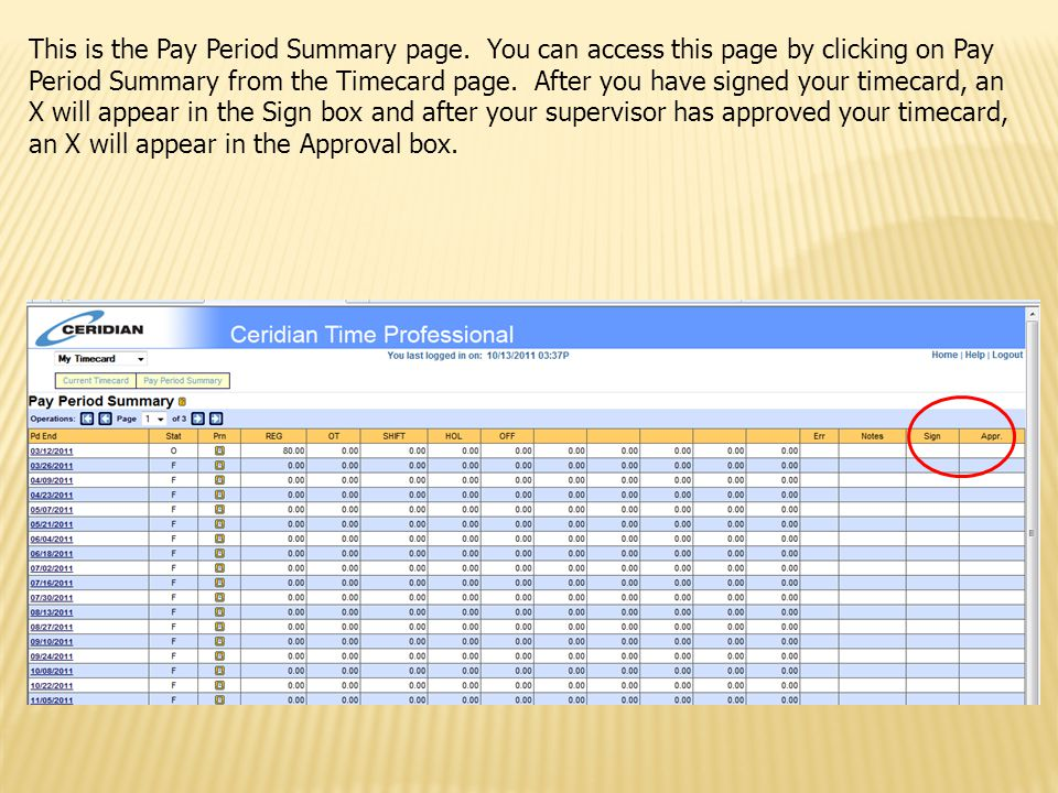 This is the Pay Period Summary page. You can access this page by clicking on Pay Period Summary from the Timecard page. After you have signed your tim