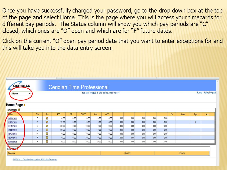 This screen is where you will enter any exception time taken.