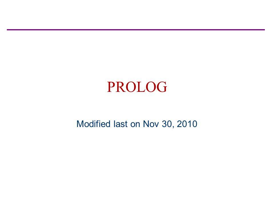 PROLOG Modified last on Nov 30, 2010