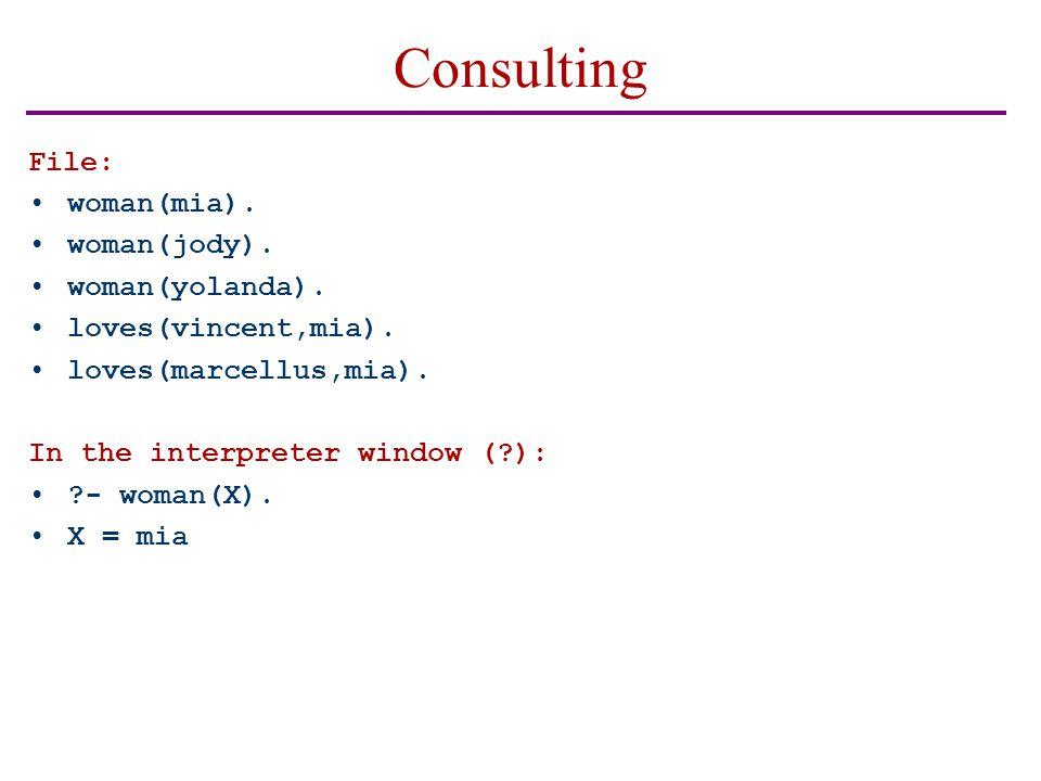 Consulting File: woman(mia). woman(jody). woman(yolanda).