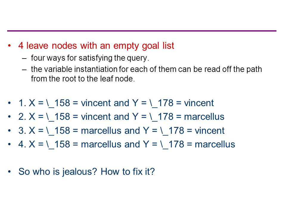 4 leave nodes with an empty goal list –four ways for satisfying the query. –the variable instantiation for each of them can be read off the path from