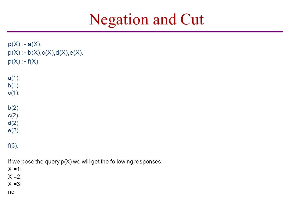 Negation and Cut p(X) :- a(X). p(X) :- b(X),c(X),d(X),e(X).