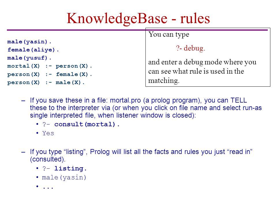 KnowledgeBase - rules male(yasin).female(aliye). male(yusuf).