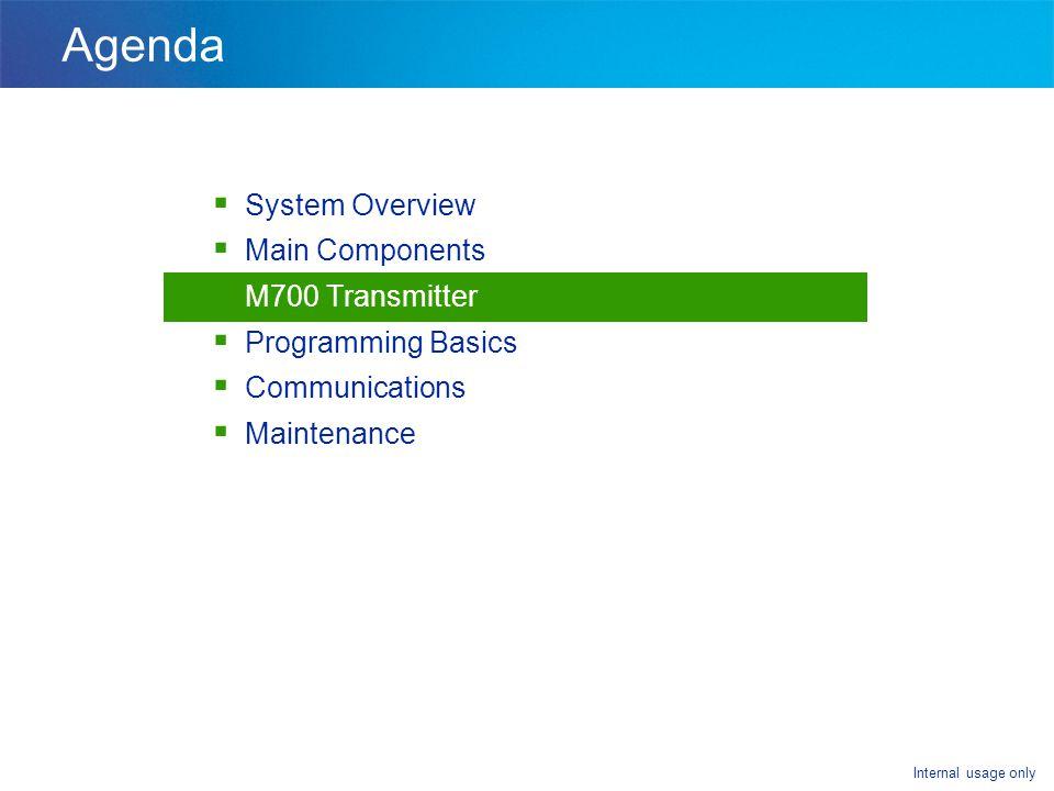 Internal usage only Agenda  System Overview  Main Components  M700 Transmitter  Programming Basics  Communications  Maintenance
