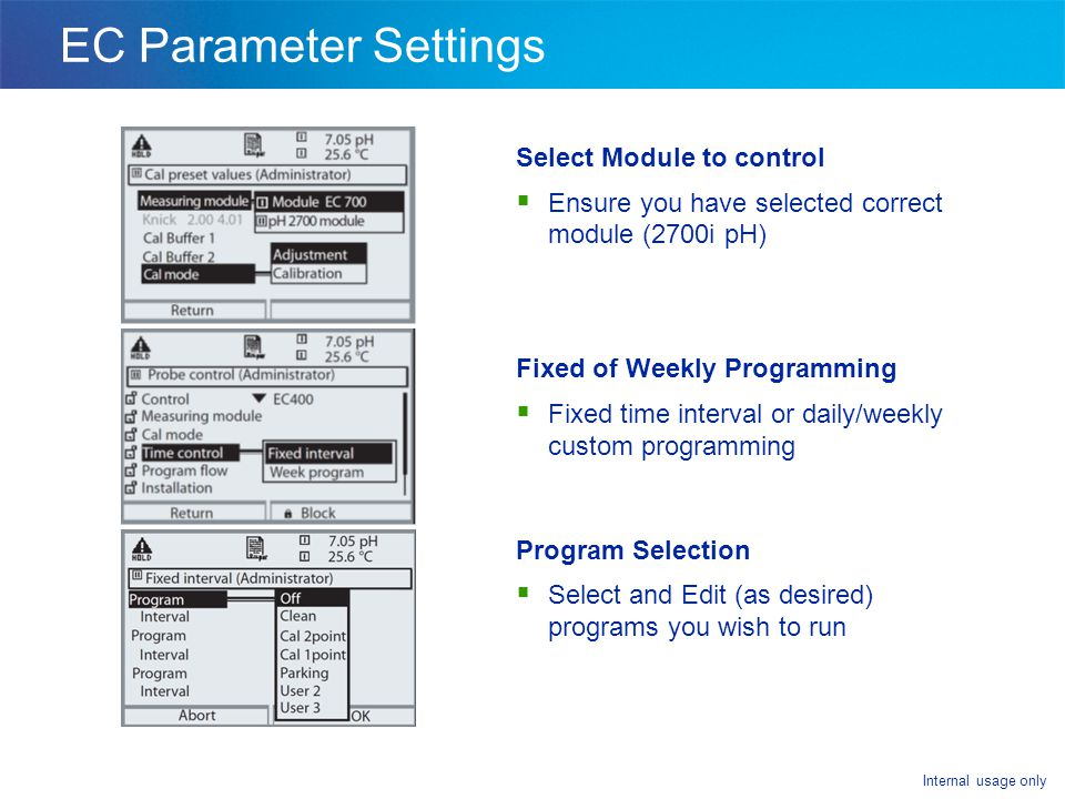 Internal usage only EC Parameter Settings Select Module to control  Ensure you have selected correct module (2700i pH) Fixed of Weekly Programming  Fixed time interval or daily/weekly custom programming Program Selection  Select and Edit (as desired) programs you wish to run