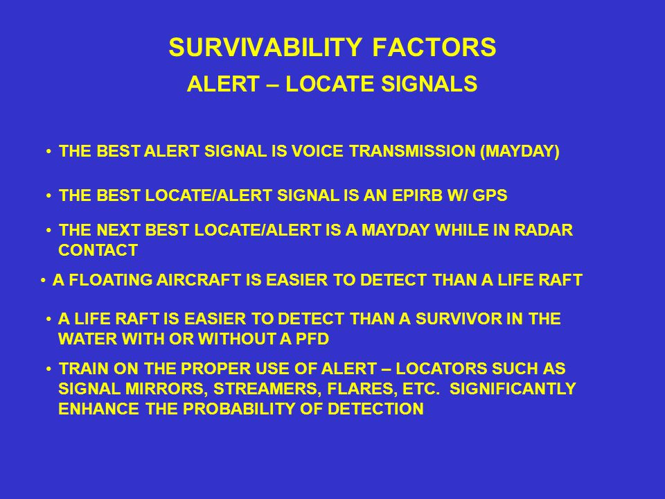 SURVIVABILITY FACTORS ALERT – LOCATE SIGNALS THE BEST LOCATE/ALERT SIGNAL IS AN EPIRB W/ GPS THE BEST ALERT SIGNAL IS VOICE TRANSMISSION (MAYDAY) A FLOATING AIRCRAFT IS EASIER TO DETECT THAN A LIFE RAFT A LIFE RAFT IS EASIER TO DETECT THAN A SURVIVOR IN THE WATER WITH OR WITHOUT A PFD TRAIN ON THE PROPER USE OF ALERT – LOCATORS SUCH AS SIGNAL MIRRORS, STREAMERS, FLARES, ETC.
