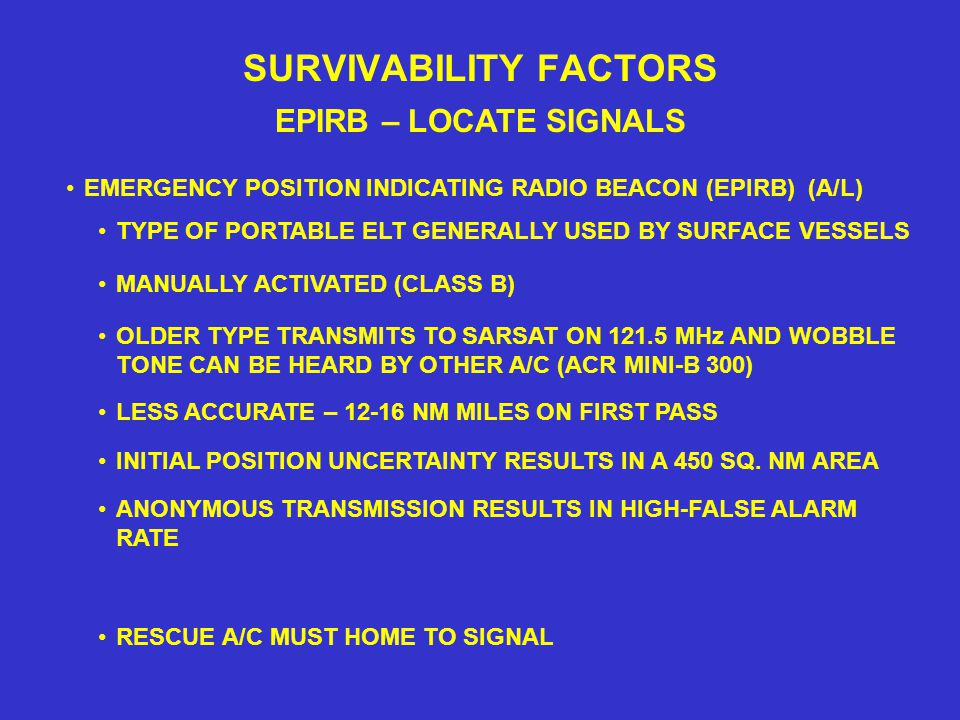 SURVIVABILITY FACTORS EPIRB – LOCATE SIGNALS TYPE OF PORTABLE ELT GENERALLY USED BY SURFACE VESSELS EMERGENCY POSITION INDICATING RADIO BEACON (EPIRB) (A/L) MANUALLY ACTIVATED (CLASS B) OLDER TYPE TRANSMITS TO SARSAT ON 121.5 MHz AND WOBBLE TONE CAN BE HEARD BY OTHER A/C (ACR MINI-B 300) LESS ACCURATE – 12-16 NM MILES ON FIRST PASS INITIAL POSITION UNCERTAINTY RESULTS IN A 450 SQ.