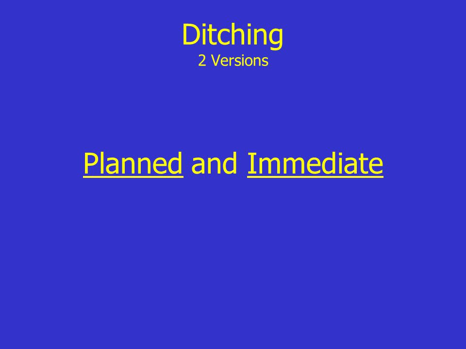 Ditching 2 Versions Planned and Immediate