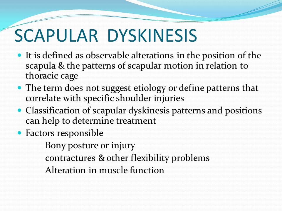 SCAPULAR EVALUATION SHOULD INCLUDE Postural evaluation Resting Scapular Evaluation Dynamic Evaluation of scapular motion Corrective measures