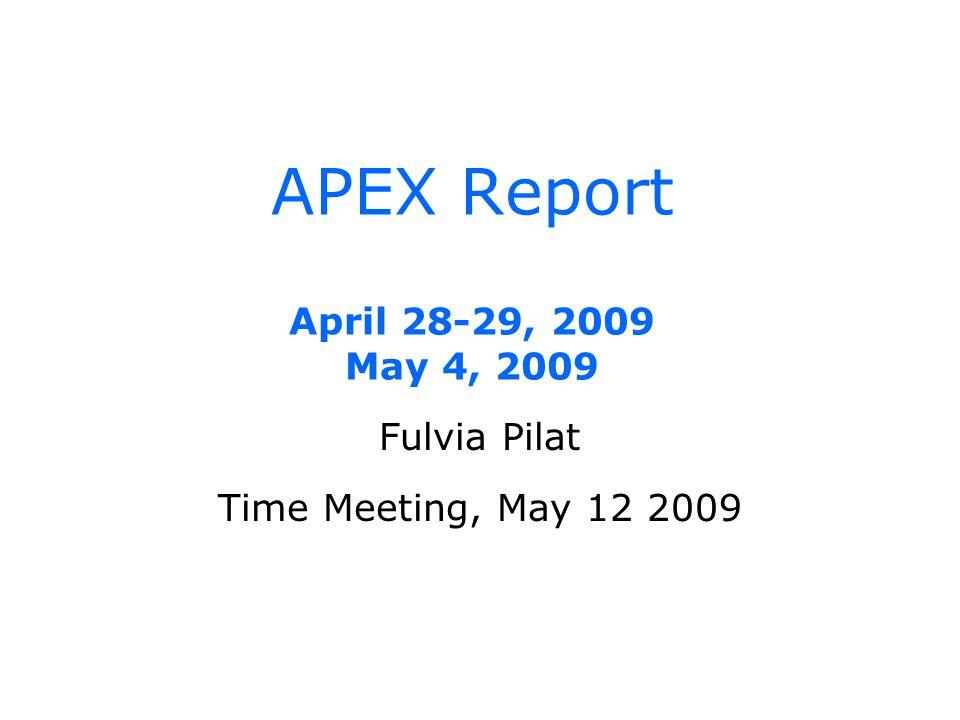 APEX Report April 28-29, 2009 May 4, 2009 Fulvia Pilat Time Meeting, May 12 2009