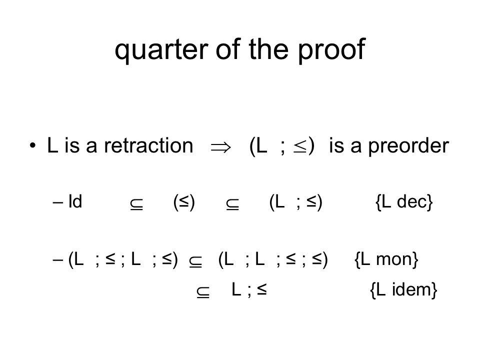 quarter of the proof L is a retraction  (L ; ≤) is a preorder –Id  (≤)  (L ; ≤) {L dec} –(L ; ≤ ; L ; ≤)  (L ; L ; ≤ ; ≤) {L mon}  L ; ≤ {L idem}
