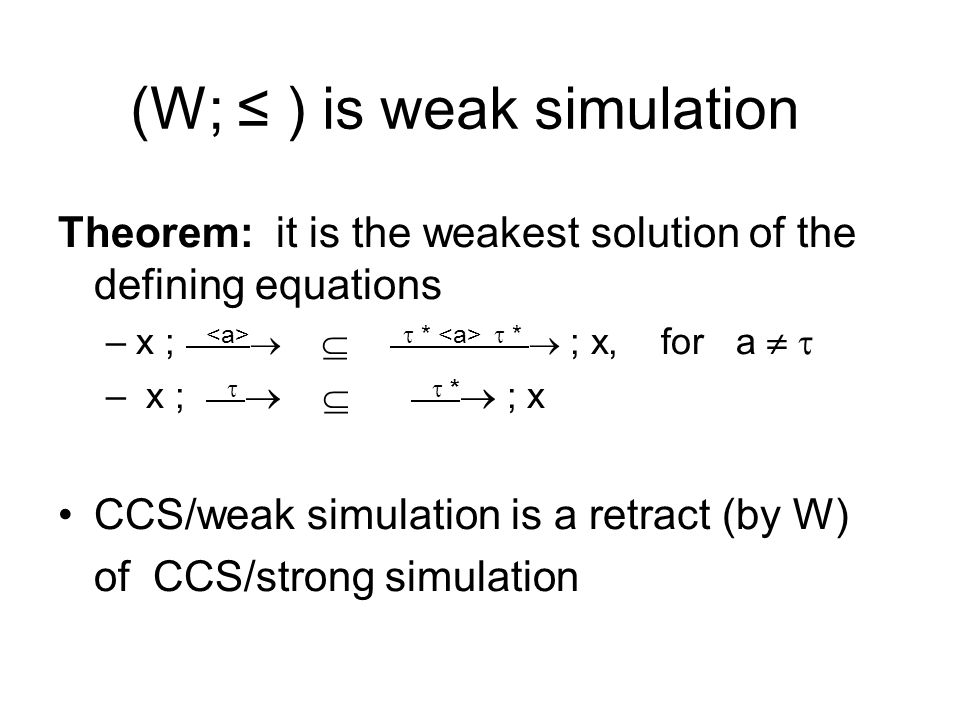 (W; ≤ ) is weak simulation Theorem: it is the weakest solution of the defining equations –x ;    *  *  ; x, for a   – x ;     *  ; x CCS/weak simulation is a retract (by W) of CCS/strong simulation