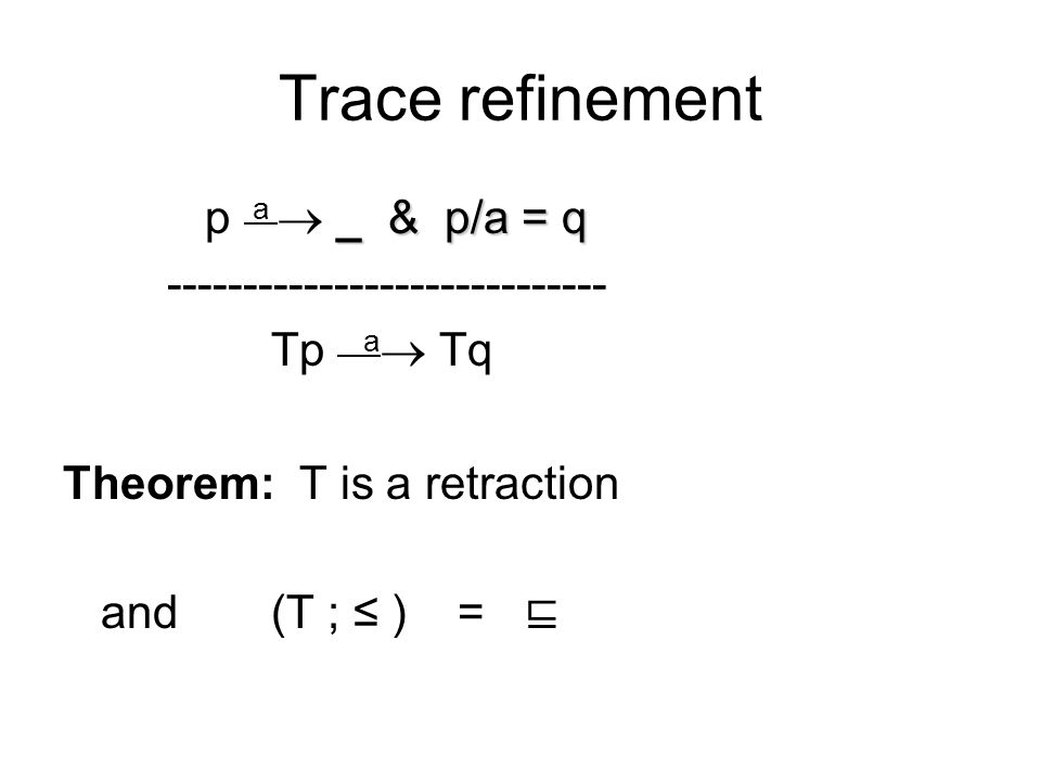 Trace refinement _ & p/a = q p a  _ & p/a = q ----------------------------- Tp a  Tq Theorem: T is a retraction and (T ; ≤ ) = ⊑