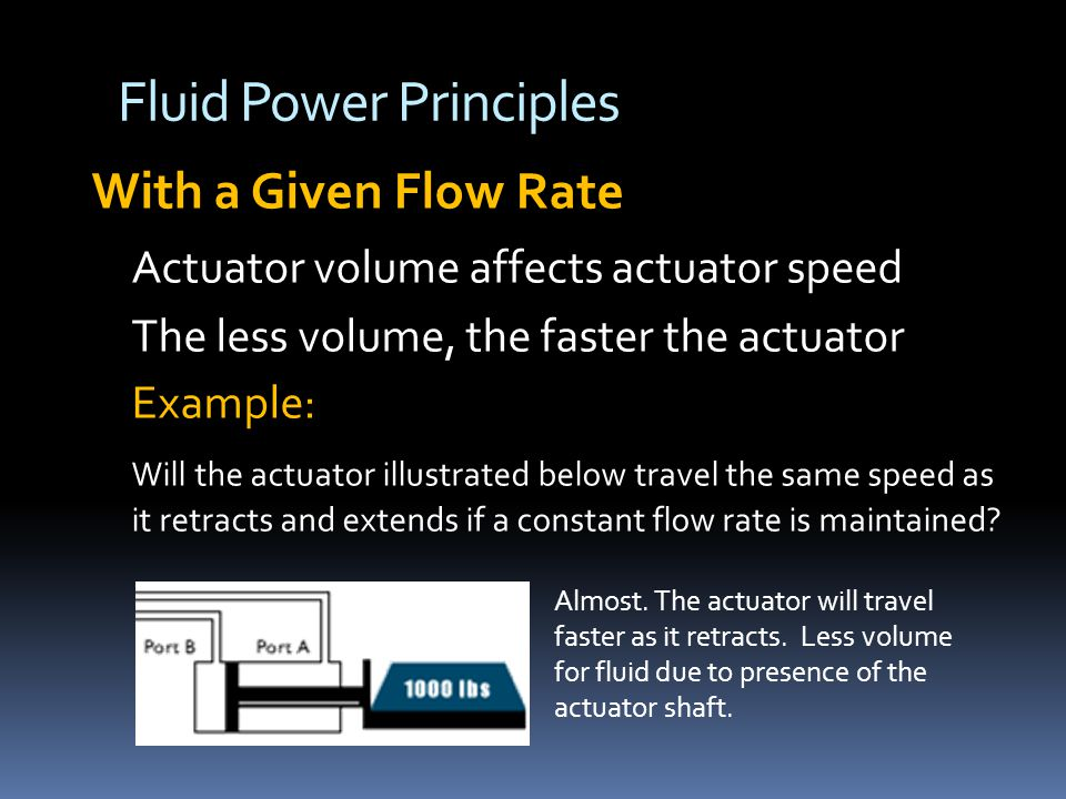 Fluid Power Principles With a Given Flow Rate Actuator volume affects actuator speed The less volume, the faster the actuator Example: Will the actuator illustrated below travel the same speed as it retracts and extends if a constant flow rate is maintained.