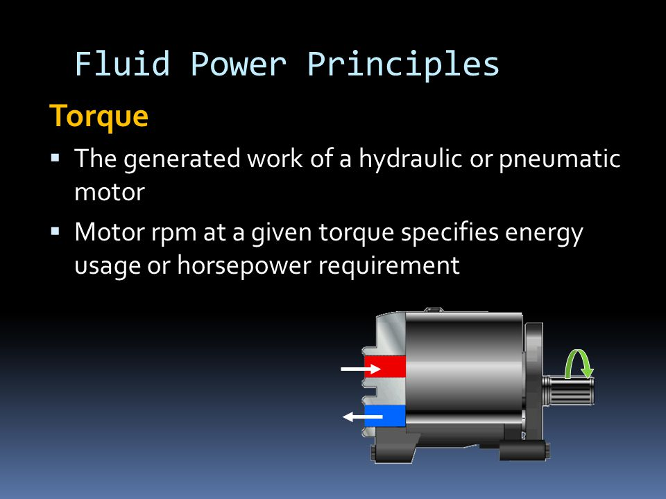 Fluid Power Principles Torque  The generated work of a hydraulic or pneumatic motor  Motor rpm at a given torque specifies energy usage or horsepower requirement