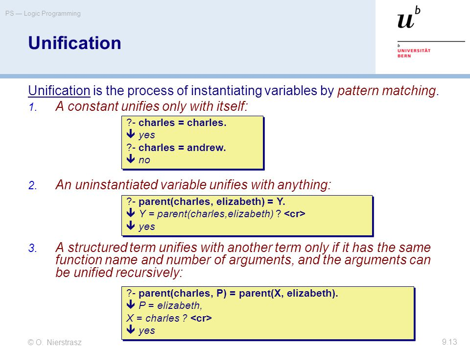 © O. Nierstrasz PS — Logic Programming 9.13 Unification Unification is the process of instantiating variables by pattern matching. 1. A constant unifi