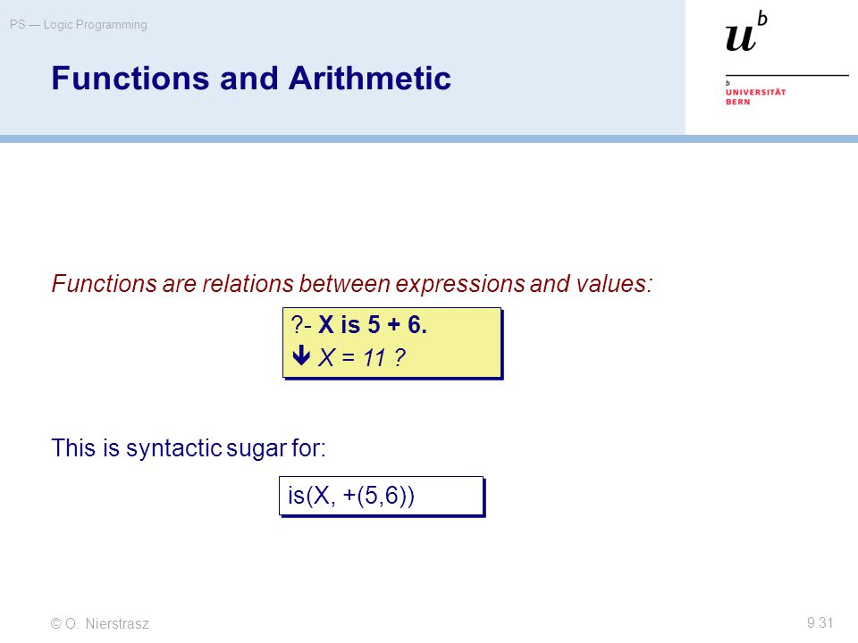 © O. Nierstrasz PS — Logic Programming 9.31 Functions and Arithmetic Functions are relations between expressions and values: This is syntactic sugar f
