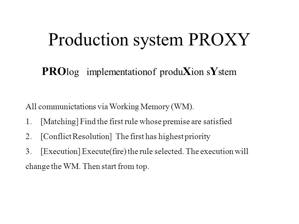 Production system PROXY PRO log implementationof produ X ion s Y stem All communictations via Working Memory (WM).