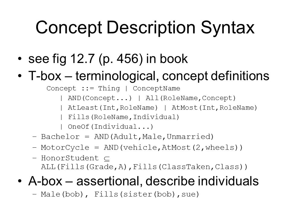 Concept Description Syntax see fig 12.7 (p.