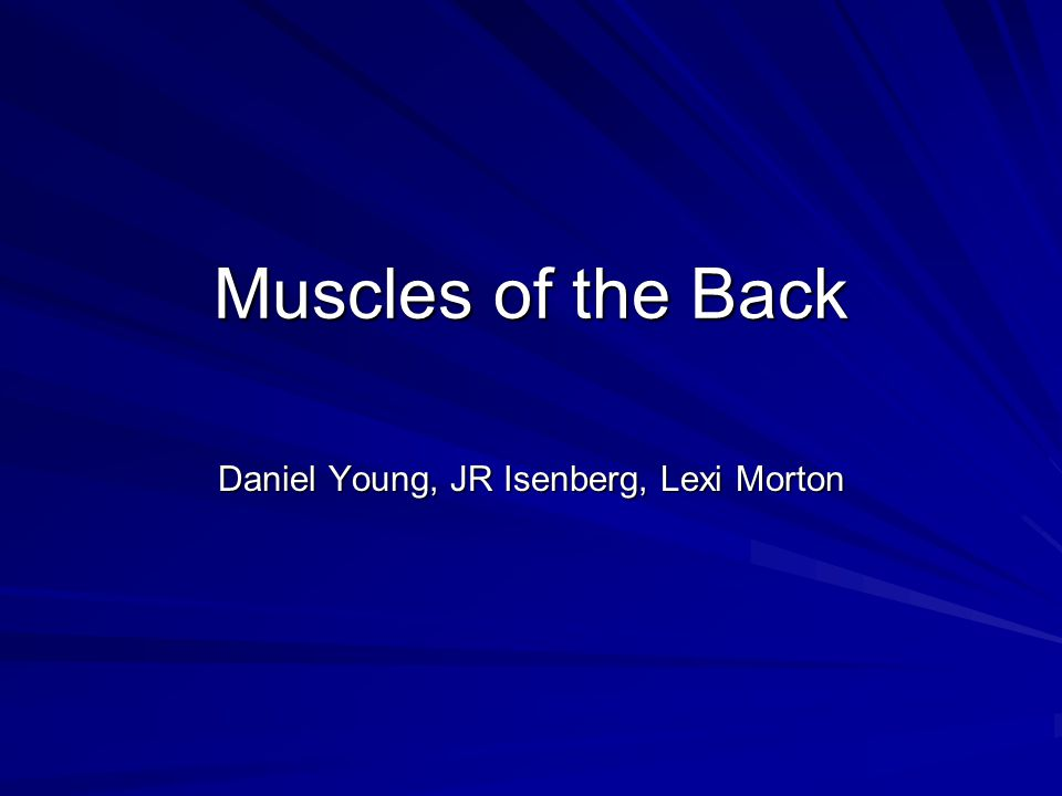 Muscles of the Back Daniel Young, JR Isenberg, Lexi Morton