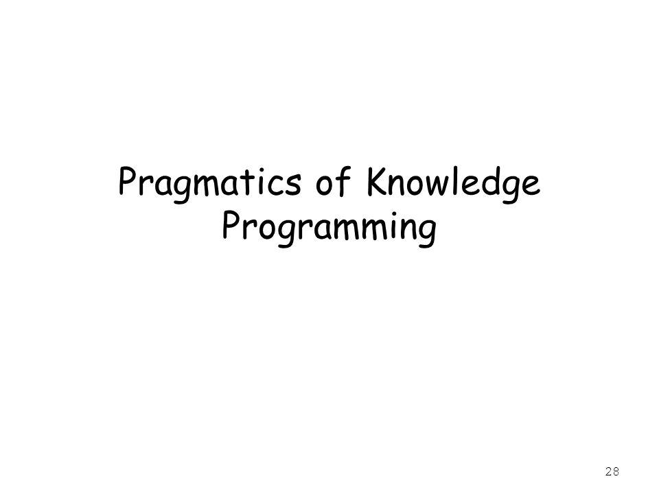 28 Pragmatics of Knowledge Programming