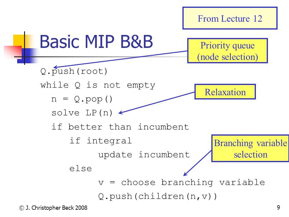 © J. Christopher Beck 2008 9 Basic MIP B&B Q.push(root) while Q is not empty n = Q.pop() solve LP(n) if better than incumbent if integral update incum