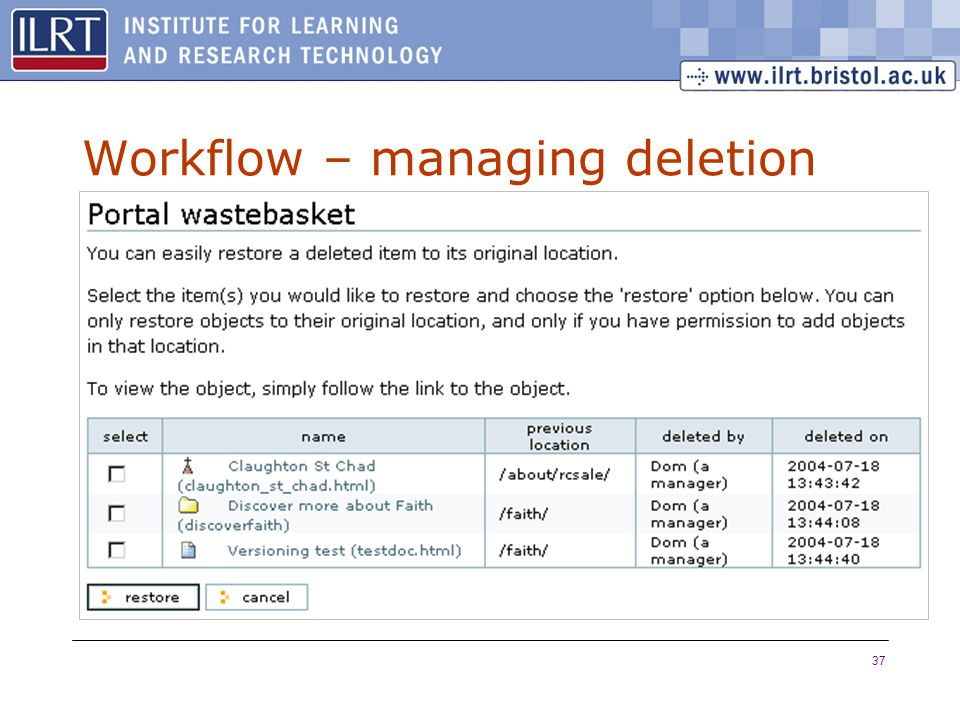 37 Workflow – managing deletion