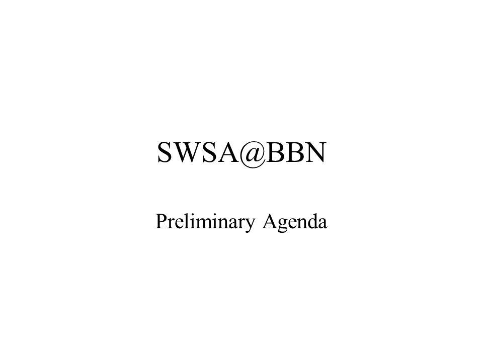 SWSA@BBN Preliminary Agenda