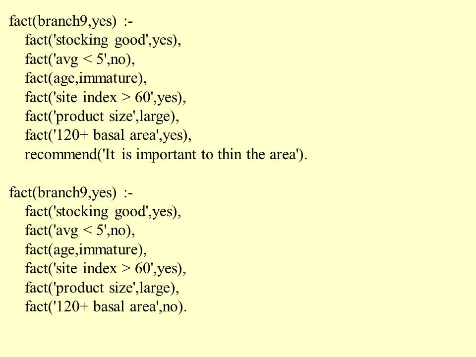 fact(branch9,yes) :- fact( stocking good ,yes), fact( avg < 5 ,no), fact(age,immature), fact( site index > 60 ,yes), fact( product size ,large), fact( 120+ basal area ,yes), recommend( It is important to thin the area ).