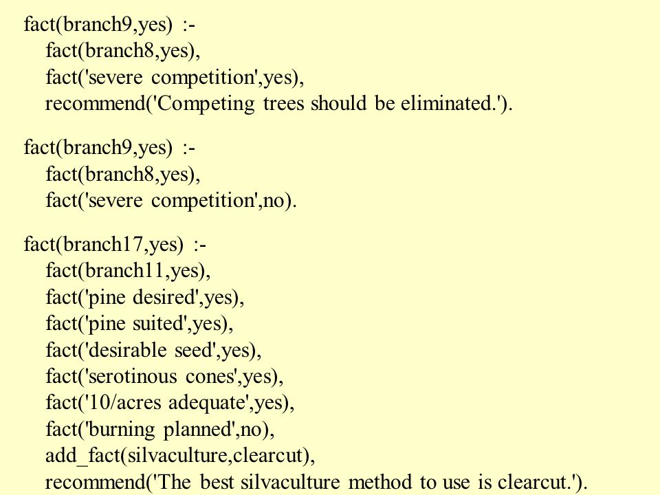 fact(branch9,yes) :- fact(branch8,yes), fact( severe competition ,yes), recommend( Competing trees should be eliminated. ).