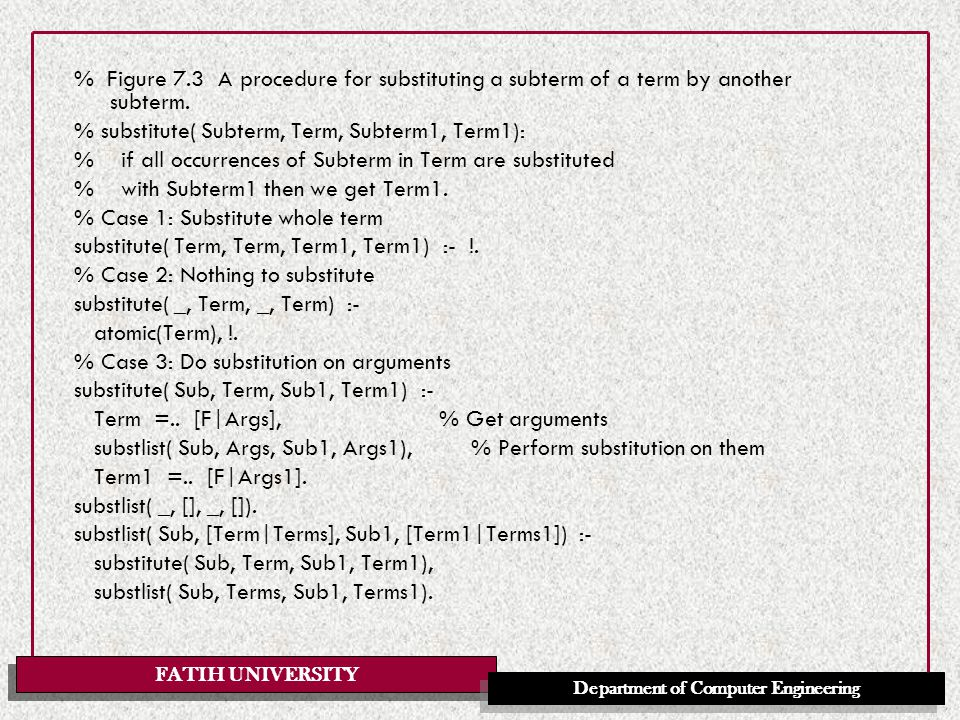 FATIH UNIVERSITY Department of Computer Engineering % Figure 7.3 A procedure for substituting a subterm of a term by another subterm.